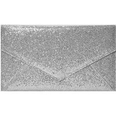 Boohoo Nina Envelope Glitter Clutch Bag ($20) ❤ liked on Polyvore featuring bags, handbags, clutches, silver, special occasion clutches, crossbody purse, day pack backpack, evening clutches and envelope clutch bag