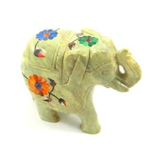 Vintage Hand Carved Soapstone Elephant with Semi Precious Stone Inlay ($46) ❤ liked on Polyvore featuring home, home decor, elephant home decor, vintage home decor, elephant home accessories and vintage home accessories