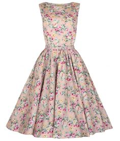 """Beautiful 50s vintage style dress made from pretty floral cotton fabric. Fitted bodice and lightly gathered full circular skirt. Thin matching adjustable belt to clench in waist. Invisible zip to side. ***Lindy Bop have called the colour Peach but in our opinion it is more like a pale/ dusky pink colour*** Can be worn with a Hell bunny 50's petticoat (25"""" length) to increase the volume of the dress. Petticoat is NOT included with the dress but available to purchase separately in our shop…"""