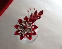 Hair Clip - Red and Gold Kanzashi Flower - Hair Accessories Wedding Flowers