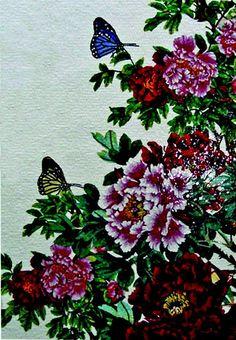 Butterflies on Flowers Glass Mosaic Mural
