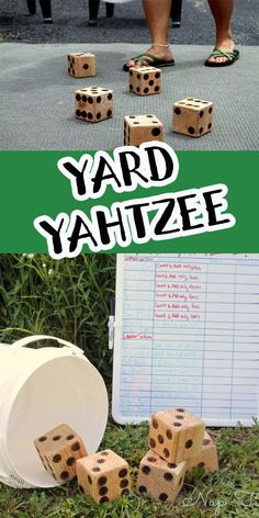 make your own yard games with this fun yahtzee set from wood. Easy diy to make a fun family game to play in your backyard. Yard yahtzee is fun for the whole family Family Games To Play, Family Games Indoor, Indoor Activities, Summer Activities, Family Activities, Yahtzee Game, Yard Yahtzee, Woodworking Ideas Table, Woodworking Plans