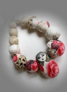 Matryoshka bead necklace in polymer clay by Sona Grigoryan