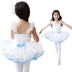 Girl Kid Belt Bow Layered Tutu Dress Leotard Dancewear Ballet Costume Sz 4 7 | eBay
