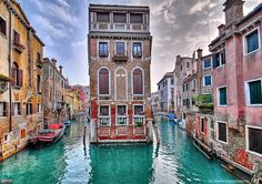 Two canals in Venice Italy