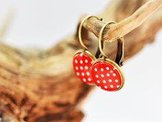 """Ohrringe  """"Polka Dots"""" rot/weiß - Bronze gepunktet von Schmuckzucker auf DaWanda.com"""