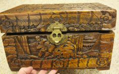 Vintage Asian Carved Camphor Wooden Box Brass Chest Lock