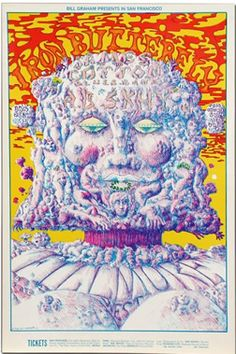 Classic rock concert psychedelic poster - Iron Butterfly at Fillmore West by Lee Conklin 🎶Classic rock music concert poster psychedelic ☮ ☮❥Hippie Style❥☮☮ Hippie Posters, Rock Posters, Band Posters, Music Posters, Vintage Concert Posters, Vintage Posters, Psychedelic Music, Psychedelic Posters, Fillmore West