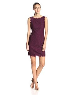 ** Super Saver ** Adrianna Papell Women's Sleeveless Lace Cocktail Dress with V Back Zipper
