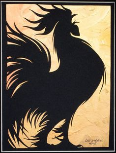 The Herald Medium: Silhouette paper-cut. Rooster Stencil, Rooster Painting, Rooster Art, Rooster Decor, Stencil Art, Chicken Painting, Chicken Art, Hahn Tattoo, Arte Do Galo
