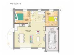 Plan de maison Open Nord PP GI accès Sud 65 so chic : Vignette 1 Plane, Location, Floor Plans, How To Plan, Simple, Design, Studio, Chic, Interior Design