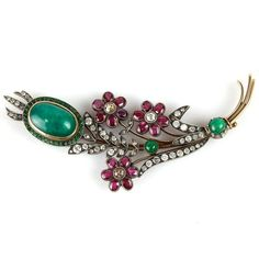 Carl Faberge 14k Gold Diamond, Emerald and Ruby Brooch. : Lot 188
