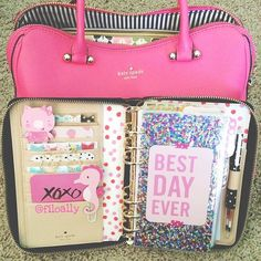 Especially the pink Kate Spade bag! filoally: My fits perfect in my bag. Cute Planner, Happy Planner, Kawaii Planner, Just Girly Things, Day Planners, Planner Organization, Office Organization, My Bags, School Supplies