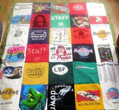 DYI - T-shirt quilt. A great use for all those old shirts you never wear but can't get rid of because they bring back so many good memories.