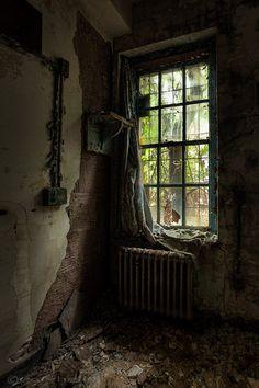 draped - 8x12 fine art photography print of an old curtain draped along a window inside an abandoned asylum, signed.. $49.00, via Etsy.