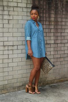 Denim & animal print calf hair makes a great pair. via StyleLust Pages: Denim Does It Classy Outfits, Cool Outfits, Summer Outfits, Casual Outfits, Casual Attire, Night Outfits, Summer Dresses, Denim Fashion, Fashion Outfits