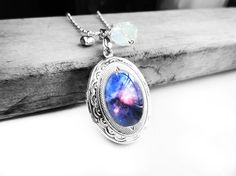 Blue Cosmic Galaxy Swarovski White Opal Crystal Silver Oval Picture Locket Sterling Silver Necklace