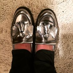#Silver #Loafers #BellAndWhite #WomensFashion #Fashion #Shoes #WomensShoes