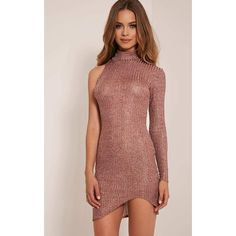 Kerry Rose Gold Metallic High Neck Ribbed Dress ($13) ❤ liked on Polyvore featuring dresses, pink, ribbed midi dress, one shoulder cocktail dress, cocktail party dress, pink midi dress and party dresses