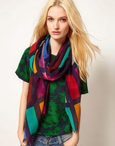 graphic silk scarf