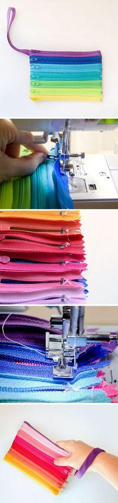 Zipper inspiration: colorful clutch / Молниеносное рукоделие: застежка-зиппер в…