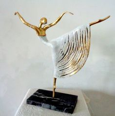 #Bronze #sculpture by #sculptor Liubka Kirilova titled: 'Ballet-Dancer (Small Romantic Ballerina statuette)'. #LiubkaKirilova