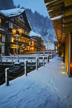 Ginzan onsen in winter, Yamagata, Japan Winter In Japan, Beautiful Places In Japan, Yamagata, Japanese Landscape, Great View, Hot Springs, Japan Travel, Beautiful Landscapes, Scenery