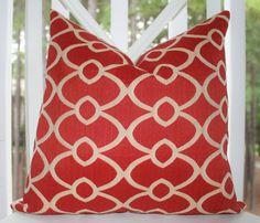 Decorative Designer Pillow - Orange Geometric Trellis Pattern Designer Cover 18 x 18 - Throw Pillow