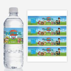 PAW PATROL Water Bottle Labels, Printable, Birthday Party Decorations, Red Head Invites Más