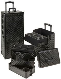 4 in 1 All Black Diamond Rolling Makeup Case, only $159.95 plus free shipping
