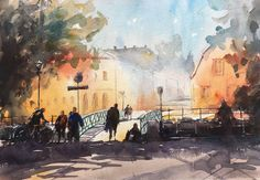 Stefan Gadnell present his watercolors and arts. Uppsala, Watercolor Paintings, Landscape, Drawings, Cities, Pen And Wash, Watercolor Artists, Pictures, Scenery
