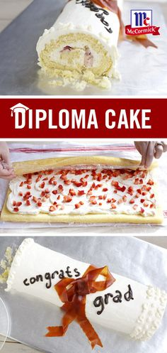 Celebrate your grad with fluffy white cake, cream cheese frosting and fresh strawberries – all rolled into one delish dessert. Graduation Party Desserts, Graduation Cupcakes, Mccormick Recipes, Yummy Treats, Sweet Treats, Large Crowd, Moist Cakes, Diy Cake, Cupcake Cakes