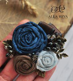"""Купить Брошь """"Черноплодная рябина"""" - комбинированный, брошь, брошь цветок, цветы из ткани, allareva"""