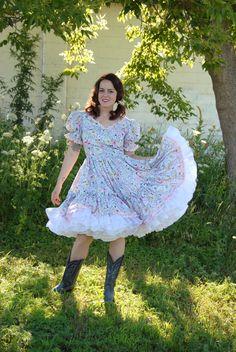 Vintage pink floral swing dress white square dance western