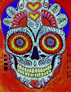 ORIGINAL PAINTING Mexican Day of the Dead Sugar Skull Primitive Modern Southwestern Folk Art Signed Karen Hickerson - Free Shipping. $200.00, via Etsy.