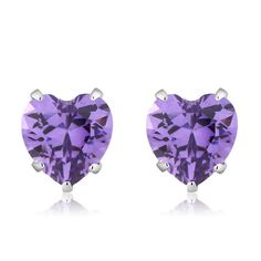 925 Sterling Silver Purple CZ Stud Earrings (3.00 cttw, 6MM Heart Shape)