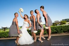 High end wedding. Outdoor wedding photography. Bride and bridesmaids photo. Wedding photography ideas. Bouquets. Charcoal and white.
