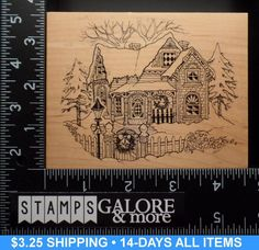 PSX New Rubber Stamp K 347 Victorian Winter House Fence Wreath Trees Snow | eBay