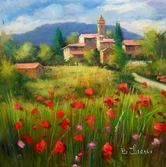 Italienische Malerei gegenüber dem Dorf Tuscany original Öl gerahmte Landschaftsmaler Bruno Chirici Italien Toscana