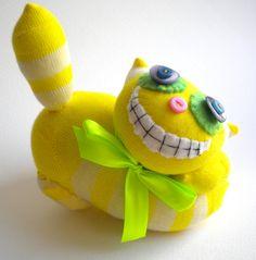 Yellow Cheshire Cat Sock Animal.