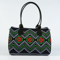 Black Fabric Barrel Bag for Ladies Ethnic Ornament by MyBrightBag