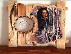 tableau peinture sur cuir originale  loup  par IndianHeritageArts