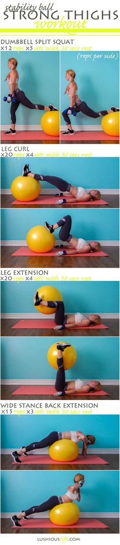 IT'S WORKOUT TIME! Let's strengthen your glutes, quads, and hamstrings by practicing these helpful exercises with stability ball constantly every day. They help to burn all stubborn fat and give you slim and sexy thighs. Stability Ball Exercises, Thigh Exercises, Pilates, Fitness Tips, Fitness Motivation, Health Fitness, Easy Workouts, At Home Workouts, Kettlebell Training