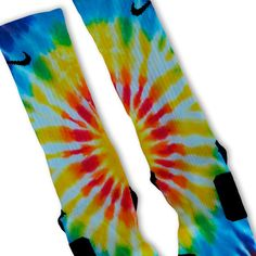 We custom design and print all of our Tie Dye Blues Custom Nike Elite Socks Custom Nike Elite Socks. We print all orders on demand and no two pairs are identical. Nike Elite Socks, Nike Socks, Tie Dye Socks, Tie Dye Crafts, Painted Sneakers, Basketball Socks, Basketball Stuff, Custom Ties, Blue Nike