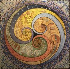 mosaic triskelion. Make area in center a little more open so that central design element wouldn't be covered by table or fire pit. Would have the triskelion in mosaic and space between filled with pavers, stones, brick etc.