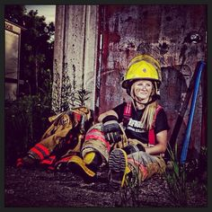 A female firefighter.