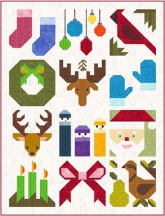 """Christmas Quilt:  Quilt-along by Sew Fresh Quilts: Have a Jolly Little Christmas. Free 12"""" blocks with lots of ideas for additional projects."""