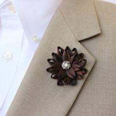 Mens Lapel Flower Mens Flower Lapel Pin Dark Brown...