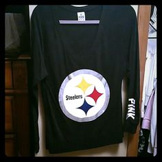 VS NFL top Black long sleeve Steelers NFL top, size states XS buy fits like a S-M Victoria's Secret Tops Tees - Long Sleeve