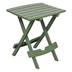 Adams Manufacturing Fade Resistant, UV Protected, Waterproof,Weather Resistant Quik-Fold Durable Lightweight Resin Perfect Accent Patio Side Table, Sage